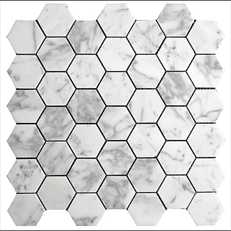 "Bianco Carrara 2"" Hexagon thassos long island city"