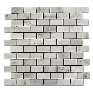 "Bianco Carrara: 1"" x 2"" Brick Pattern thassos long island city"